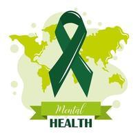 día de la salud mental, conciencia mundial de la cinta verde, tratamiento médico psicológico vector