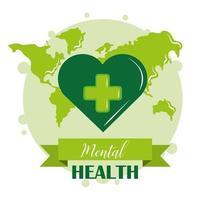 día de la salud mental, conciencia mundial del corazón verde, tratamiento médico psicológico vector