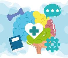 mental health day, human brain activities, psychology medical treatment vector