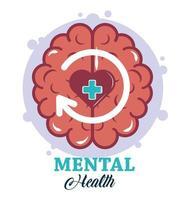 mental health day, human brain heart disorder psychology medical treatment vector