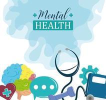día de la salud mental, problema de psicología cartel de tratamiento médico vector