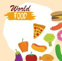 world food day, healthy lifestyle meal ingredients products nature background vector