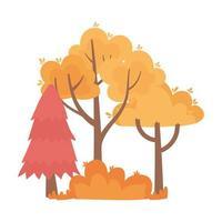 árboles de otoño bush naturaleza follaje icono aislado estilo vector