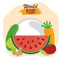 día mundial de la alimentación, estilo de vida saludable frutas frescas verduras y nueces