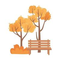 autumn foliage nature bench isolated icon style vector