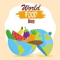 día mundial de la alimentación, planeta lleno de frutas, verduras y pan, estilo de vida saludable