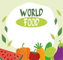 cartel del día mundial de la alimentación, estilo de vida saludable frutas verduras