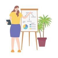 business woman working in a room with board report presentation vector