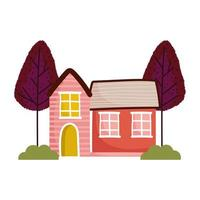 vintage houses trees bushes cartoon isolated design white background vector