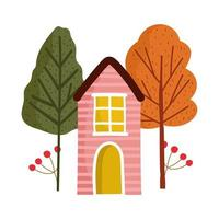 cartoon wooden house trees branch foliage nature vector