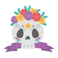 day of the dead, floral skull flowers and ribbon mexican celebration vector