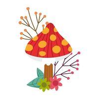 hello autumn, cartoon mushroom flowers leaves foliage card