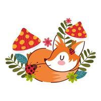hola otoño, zorro durmiente dibujos animados setas mariquita flores naturales vector