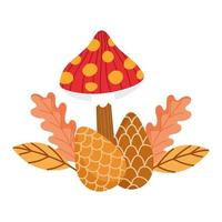 hello autumn, mushroom pine cones and leaves nature