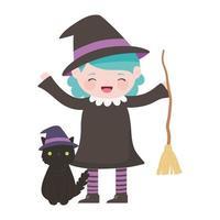 feliz halloween, niña con disfraz de bruja escoba y gato