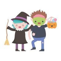 feliz halloween, niña bruja con escoba y niño zombie con calabaza