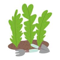 jardinería, hojas plantadas en el suelo con herramientas de pala y rastrillo