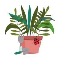 jardinería, rastrillo de plantas en macetas y herramientas de pala vector