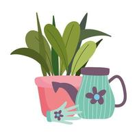 gardening, watering can potted plant and glove with flower vector