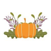 happy thanksgiving day, pumpkin leaf foliage nature celebration vector