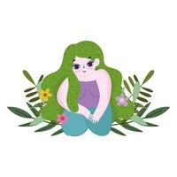 girl in the floor with green hair flowers isolated icon style vector