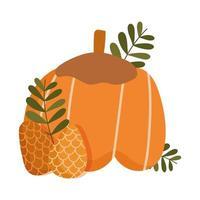 feliz día de acción de gracias, calabaza, piña, bellota, hojas, celebración