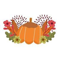 happy thanksgiving day, pumpkin flowers foliage autumn season celebration vector