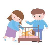 embarazo y maternidad, mamá y papá felices con bebé en cuna