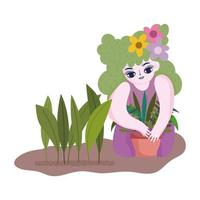 happy garden, girl with flowers in hair and planting plant in pot vector