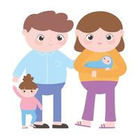 pregnancy and maternity, family dad mom baby and little daughter cartoon vector