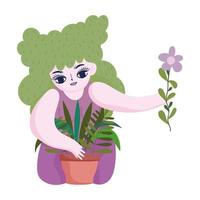 happy garden, girl planting plants in pot with flower in hand vector