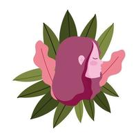 perfil, niña, cabeza, caricatura, con, follaje, hojas, naturaleza