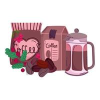 coffee brewing methods, packages with coffee kettle and grains vector