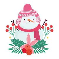 merry christmas, snowman cartoon flower and holly berry isolated design