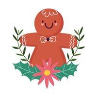 feliz navidad, hombre de jengibre, caricatura, flor, poinsettia, hojas, decoración, aislado, diseño
