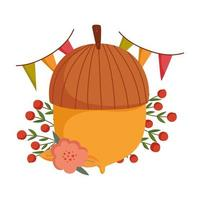 autumn acorn flower berries pennants decoration vector