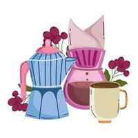 coffee brewing methods, moka pot drip coffee maker and cup vector