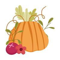 feliz día de acción de gracias, celebración de la cosecha de frutas de flor de calabaza