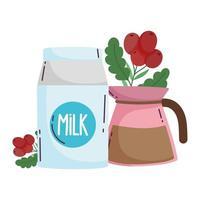 métodos de preparación de café, caja de leche y hervidor con semillas vector