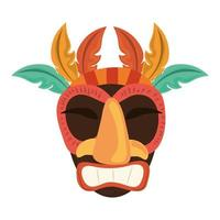 tiki feathers wooden mask isolated on white background vector