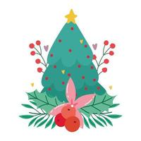 merry christmas, pine tree with flower star holly berry isolated design vector