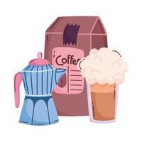 métodos de preparación de café, producto de paquete de olla moka frappe vector