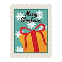 merry christmas gift box with snowflakes decoration stamp icon vector