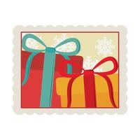 merry christmas gift boxes with snowflakes decoration stamp icon vector