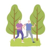 activity seniors, old couple running sport in the park vector
