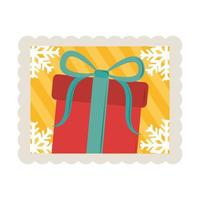 merry christmas gift with snwoflakes corners decoration stamp icon vector