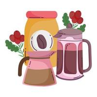 coffee brewing methods, french press kettle and bottle vector