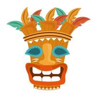 tiki tribal exotic wooden mask isolated on white background vector