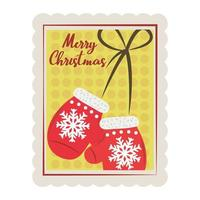 merry christmas hanging mittens with bow decoration stamp icon vector