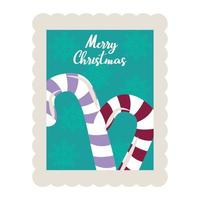 merry christmas candy canes decoration stamp icon vector
